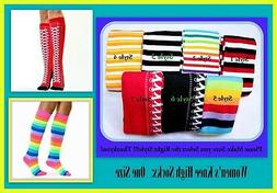 Women Knee High Socks, One Size,  Fashion Adorable Stripe or