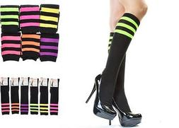 Angelina Women Referee Striped Knee High Leg Warmer Socks Ne