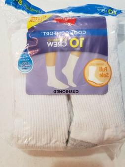 Hanes Women's 10 Pair Cool Comfort Crew Socks Size 8-12 NEW
