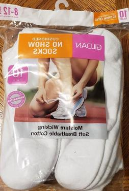 Gildan Women's 10 Pair Cushioned No Show Socks Size 8-12 Whi