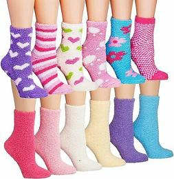 Tipi Toe Women's 12-Pairs Soft Fuzzy Anti-Skid Crew Socks