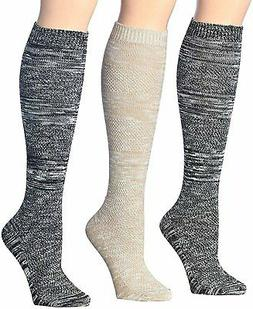 Tipi Toe Women's 3-Pairs Winter Warm Knee High Cotton-Blend
