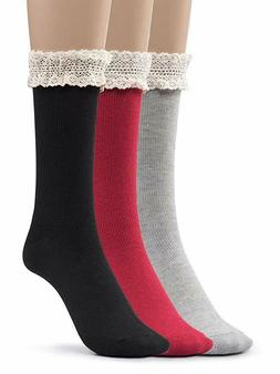 Silky Toes Women's 3 PK Winter Vintage Boot Crew Socks Thick