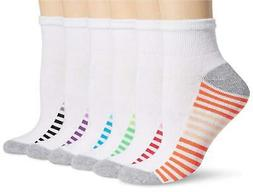 Hanes Women's 6-Pack Sport Cool Comfort Ankle White/Grey Hea