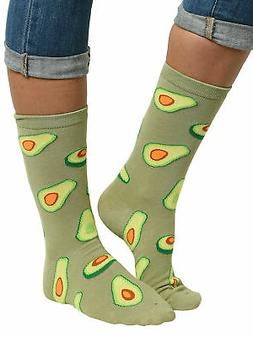 Women's Avocado Socks Novelty All-Over Print Crew Green