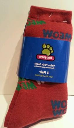 Women's Top Paw Brand 3 pack Red Blue Green Cat socks One Si