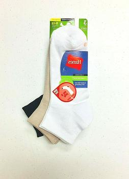 Hanes Women's ComfortSoft Cushioned Ankle Socks 3 Pairs Whit