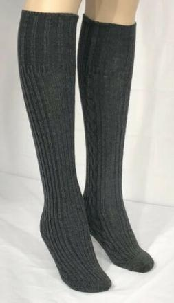 Anne Klein Women's Cotton Blend Gray Knee High Boot Socks Si