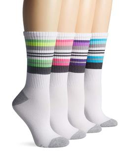 Hanes Women's Crew Cushioned Socks X-Temp 4 Pairs Shoe Size