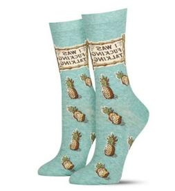 "Blue Q Women's Crew Funny Socks- ""I Was F*****g Talking"""