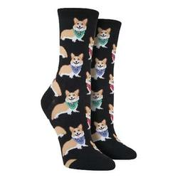 Socksmith Women's Crew Socks Corgi Puppy Dog Black Novelty F