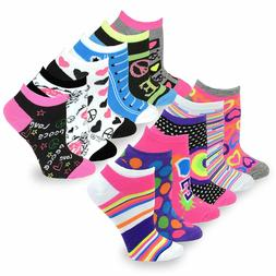 TeeHee Women's Fashion No Show/Low Cut Fun Socks 12 Pairs Pa