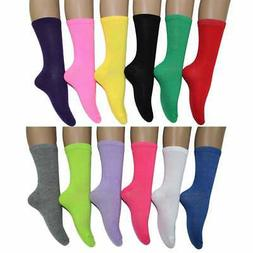 Frenchic Women's Fun and Colorful Crew Socks (Pack of 12 Red