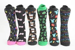 Women's Fun Crew Socks Coffee, Clover, Bowling, Doctor, Nurs
