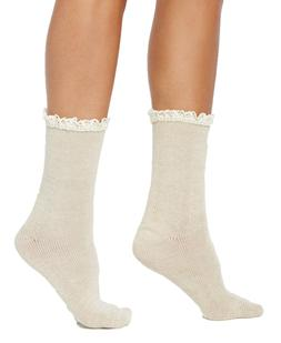 Hue Women's Lace-Trim Space-Dyed Boot Socks, Ivory/Cream, On