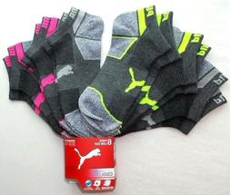 Puma Women's Low Cut Socks 6 Pack 9-11 Grey Neon Athletic Sp