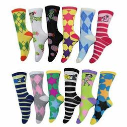 Frenchic Women's Multicolor Patterned Crew Socks (Pack of 12