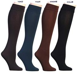 Women's Opaque Plush Fleece Lined Knee High Or Crew Socks
