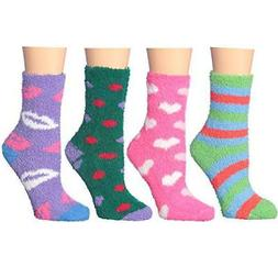 Women's Soft Cozy Plush Colorful Warm Fuzzy Anti-Skid Slippe