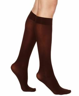 HUE Women's Soft Opaque Knee High Trouser Socks, Espresso Br