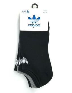 ADIDAS Women's Trefoil No Show Socks Blk/Grey Superlite 6-Pa