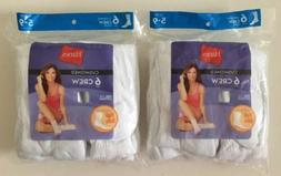Hanes Women's White Crew Socks Cushioned 12 Pairs Size 5-9 F
