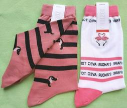 HOT SOX WOMEN'S WHITE LABEL CREW SOCKS:NWT FLAMINGO or DACHS