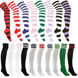 Women's Football Striped Thigh High Over The Knee Tube Socks