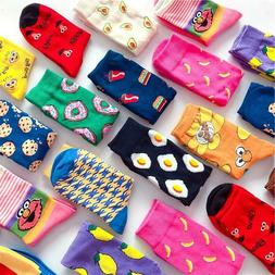 Women Socks Funny Cute Cartoon Fruits Cookie Donuts Food  Sk