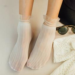 Women Socks Summer Solid Color Ladies Soft Short Socks Lace