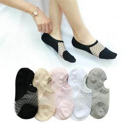 Women Soft Elastic Jacquard Lace No-show For Heels Flats Boa