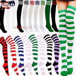 Women Striped Thigh High Socks Sheer Over The Knee Leg Warme