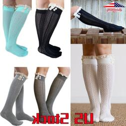 Women Winter Lace Cable Knit Over Knee Long Boot Thigh-High