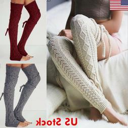Women Winter Warm Knit Crochet High Knee Leg Warmers Legging