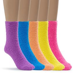 Silky Toes Womens 5 Pairs Warm Fuzzy Slipper Casual Socks