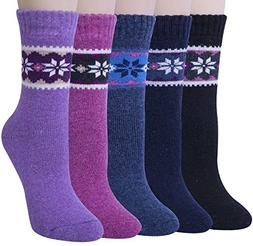 Womens 5 Pairs Winter Warm Vintage Style Thick Knit Wool Coz