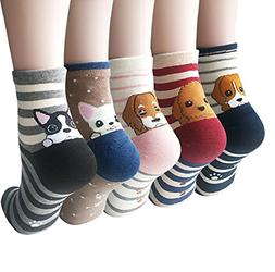 Womens Cute Animal Painting Socks, Funny and Cool 100% Cotto